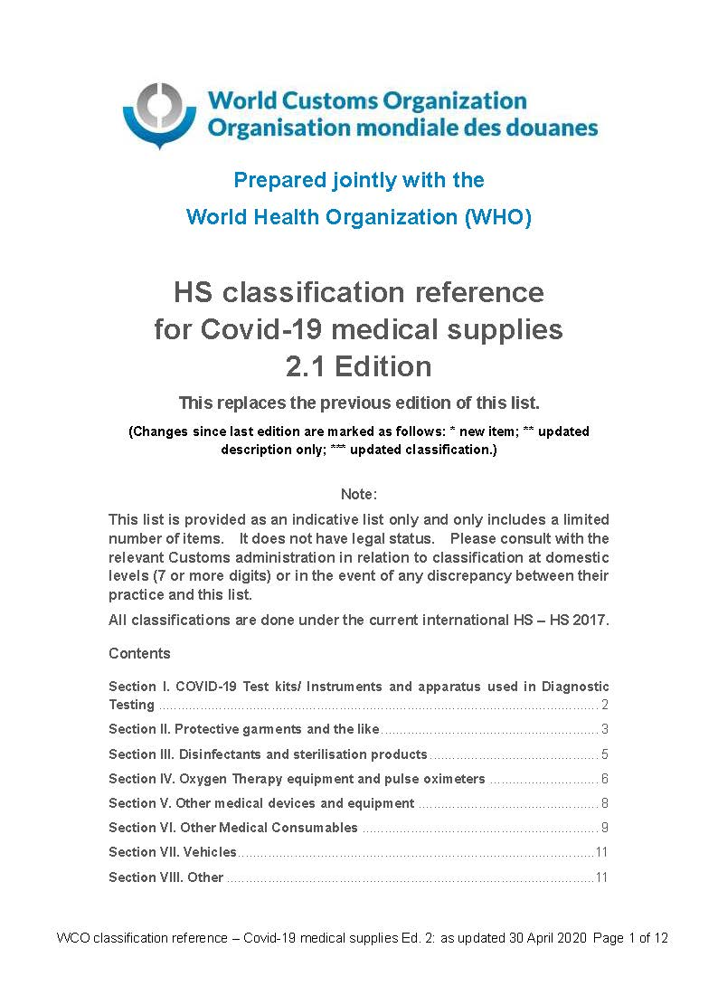 HS classification reference for Covid-19 medical supplies 2.1 Edition_Sayfa_01
