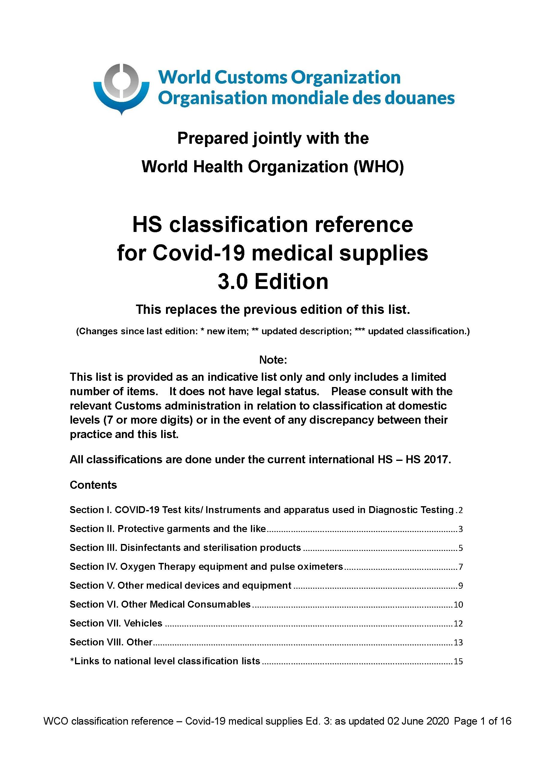 HS classification reference for Covid 19 medical supplies (3.0 Edition)_Sayfa_01