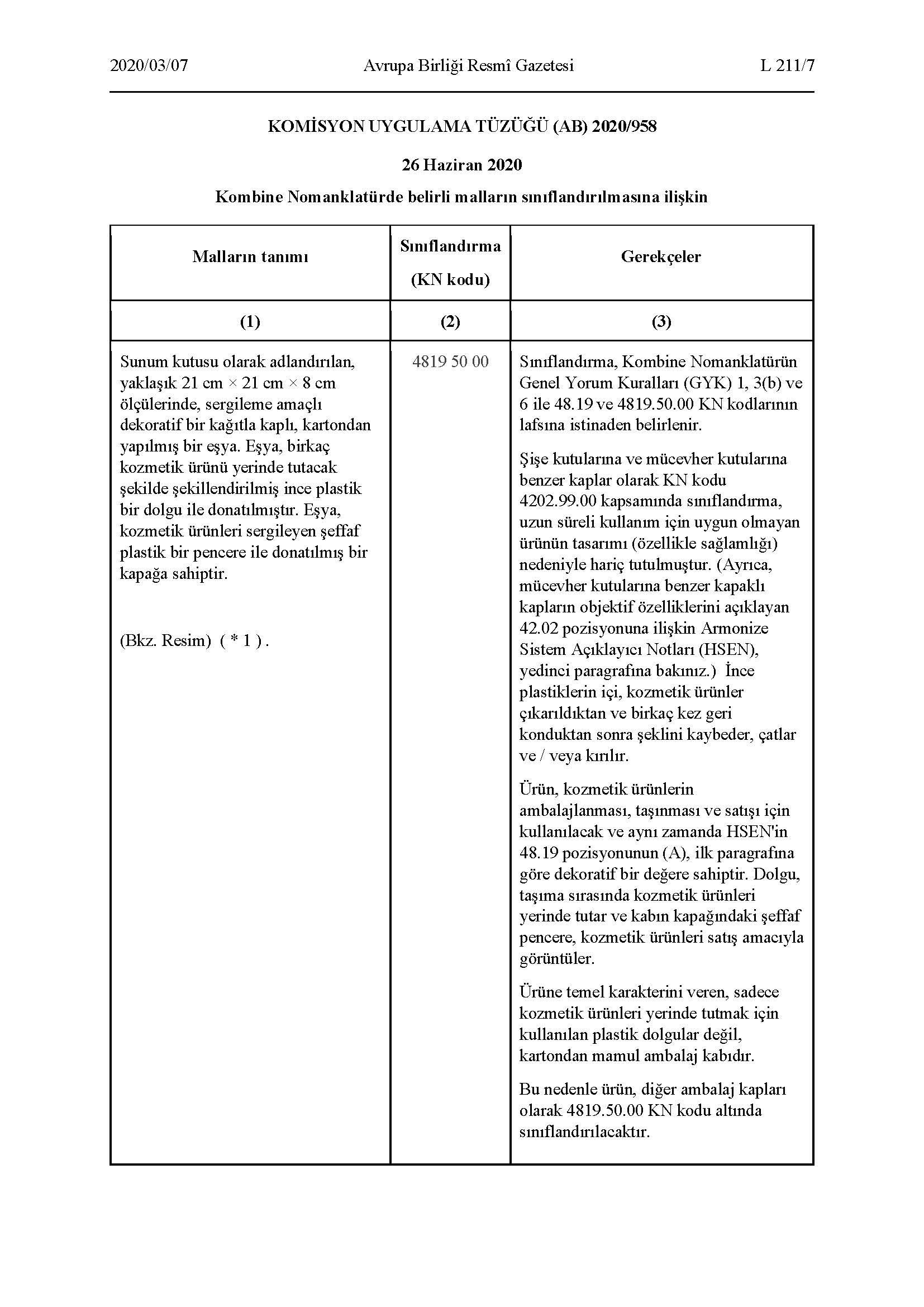 Bazı Malların Sınıflandırılmasına İlşkin AB Komisyon Tüzüğü 2020-958_Sayfa_1